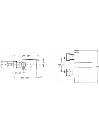 Смеситель для ванны и душа Jacob Delafon Composed E73095-TT