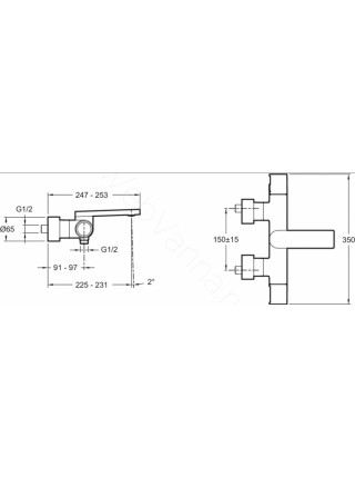 Смеситель для ванны и душа термостат Jacob Delafon Composed E73110-CP