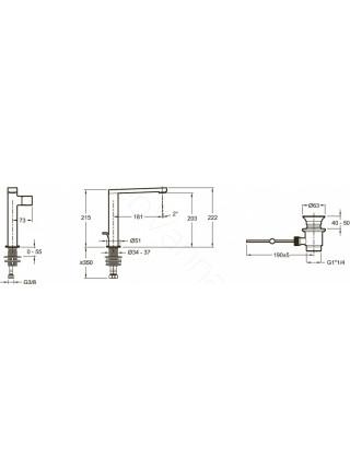 Смеситель для накладных раковин Jacob Delafon Composed E73159-CP