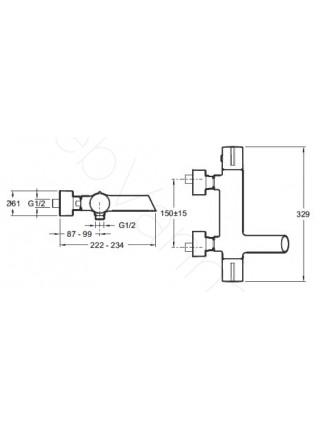 Смеситель для ванны и душа термостат Jacob Delafon Toobi E8992-CP