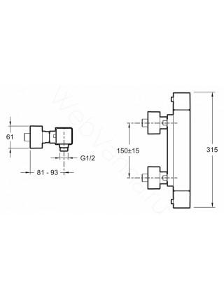 Смеситель для душа термостат Jacob Delafon Strayt E9096-CP