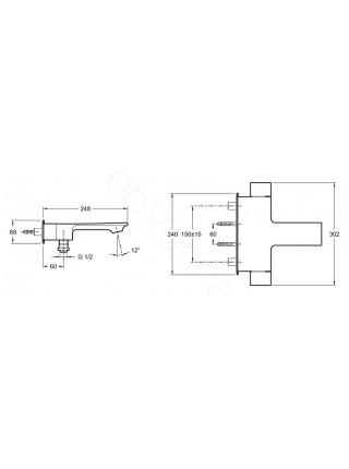 Смеситель для ванны и душа термостат Jacob Delafon Stance E9103-CP