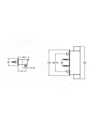 Смеситель для душа термостат Jacob Delafon Stance E9104-CP