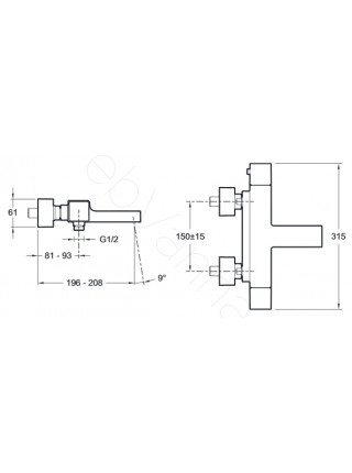 Смеситель для ванны и душа термостат Jacob Delafon Strayt E9127-CP