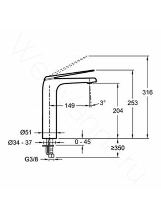 Смеситель для накладных раковин Jacob Delafon Avid E97347-CP