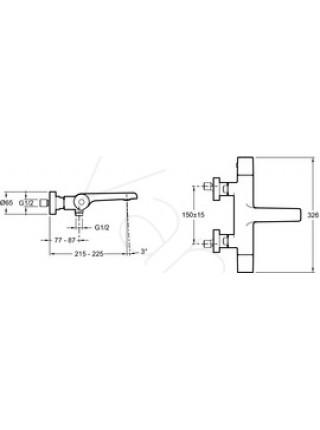Смеситель для ванны термостат Jacob Delafon Avid E97386-CP