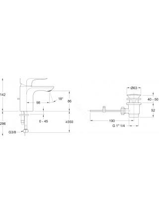 Смеситель для раковины Jacob Delafon Aleo с д/к, E98332-CP