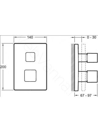 Смеситель для ванны и душа Jacob Delafon Square E98729-CP, термостат, встраиваемый