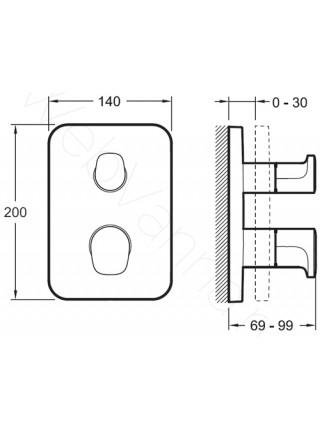 Смеситель для ванны и душа Jacob Delafon Hybrid E98730-CP, термостат, встраиваемый