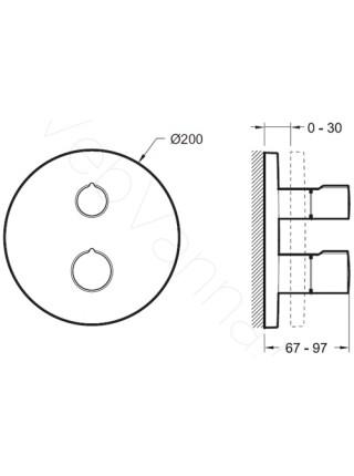Смеситель для ванны и душа Jacob Delafon Round E98731-CP, термостат, встраиваемый