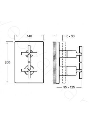 Смеситель для ванны и душа Jacob Delafon Classic E98732-CP, термостат, встраиваемый