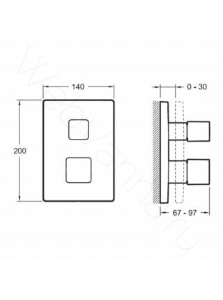 Смеситель для ванны и душа Jacob Delafon Square E98733-CP, термостат, встраиваемый