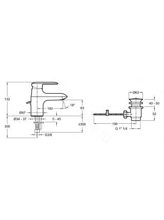 Смеситель для раковины Jacob Delafon Kumin E99980-CP