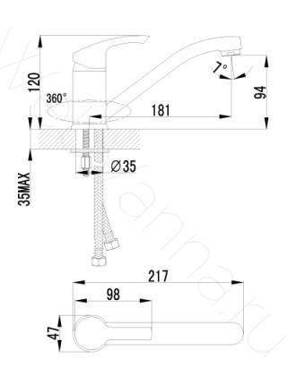 Смеситель для кухни Lemark plus Strike LM1104C