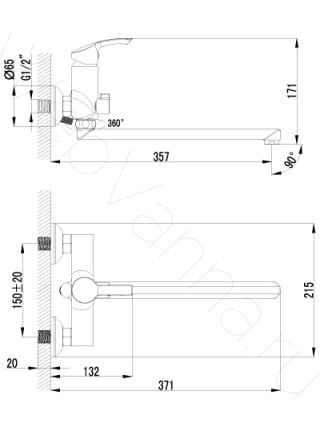 Смеситель для ванны Lemark plus Strike LM1151C, с длинным изливом