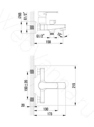 Смеситель для ванны Lemark plus Grace LM1512C