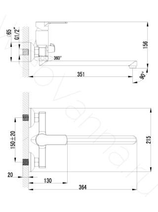 Смеситель для ванны Lemark plus Grace LM1551C, с длинным изливом