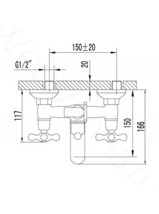 Смеситель для ванны Lemark Standard LM2102C