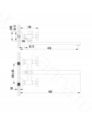 Смеситель для ванны Lemark Benefit LM2512C, с длинным изливом