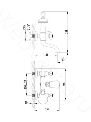 Смеситель для ванны Lemark Vintage LM2812B
