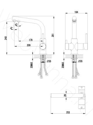Смеситель для кухни Lemark Comfort LM3061C с подключением к фильтру