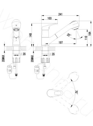 Смеситель для кухни Lemark Omega LM3150C выдвижной излив