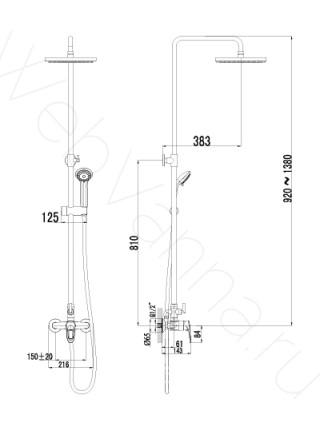 Душевая стойка Lemark Omega LM3160C, хром