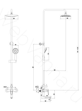 Душевая стойка Lemark Omega LM3162C с изливом