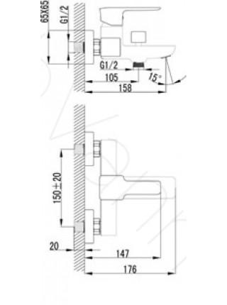 Смеситель для ванны Lemark Basis LM3602C