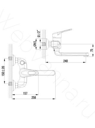 Смеситель для ванны Lemark Luna LM4114C, с длинным изливом