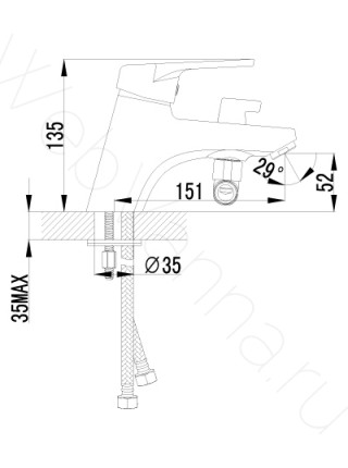 Смеситель на борт ванны Lemark Luna LM4115C 1 отверстие