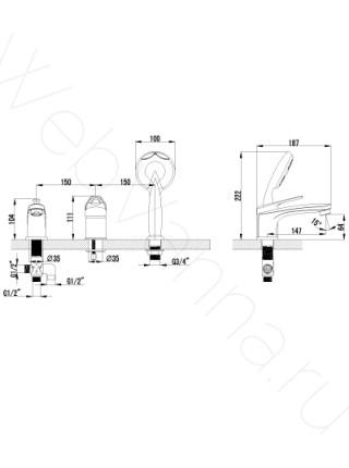 Смеситель на борт ванны Lemark Luna LM4145C 3 отверстия