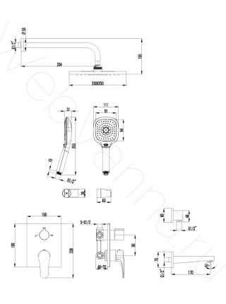 Душевая система Lemark Shift LM4322C с изливом встраиваемая
