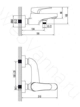 Смеситель для ванны Lemark Shift LM4332C