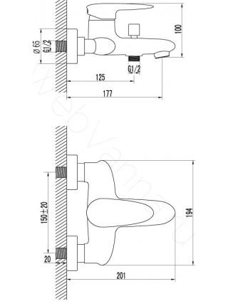 Смеситель для ванны Lemark Status LM4402C