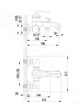 Смеситель для ванны Brava LM4712G