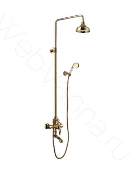Душевая стойка Lemark Brava LM4762G, золото, с изливом