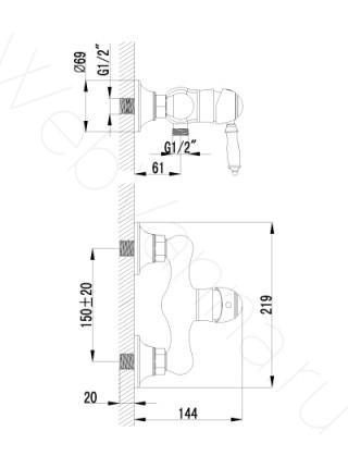 Смеситель для душа Lemark Villa LM4803B