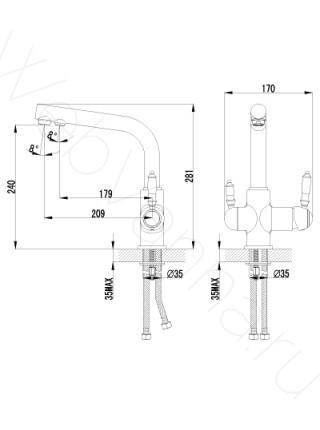 Смеситель для кухни Lemark Villa LM4861B с подключением к фильтру