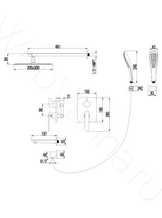 Душевая система Lemark Melange LM4922CW с изливом встраиваемая