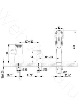 Смеситель на борт ванны Lemark Melange LM4945CW 3 отверстия