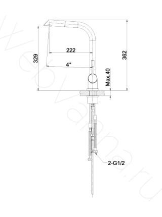 Смеситель для кухни Lemark Expert LM5075S выдвижной излив, нерж. сталь