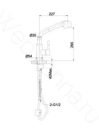 Смеситель для кухни Lemark Expert LM5076S выдвижной излив, нерж. сталь