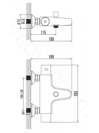 Смеситель для ванны Lemark Thermo LM7732C термостат