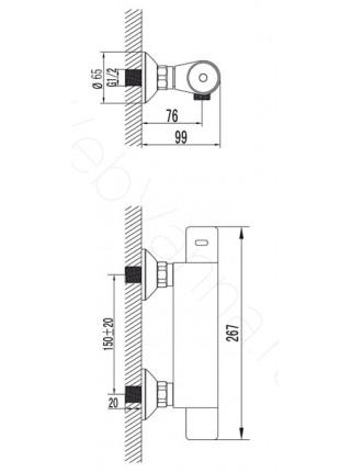 Смеситель для ванны Lemark Thermo LM7733C термостат