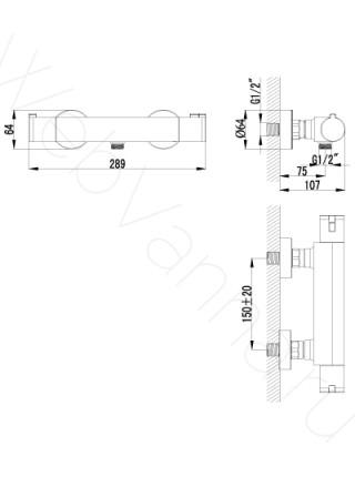 Смеситель для душа Lemark Yeti LM7833C термостат
