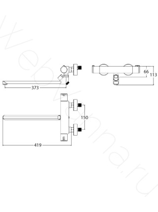 Смеситель для ванны Lemark Yeti LM7834C термостат, с длинным изливом