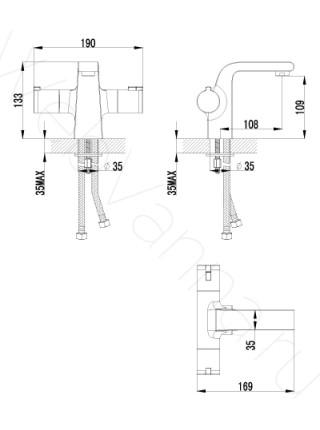 Смеситель для раковины Lemark Yeti LM7836C термостат