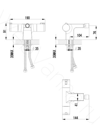 Смеситель для биде Lemark Yeti LM7838C термостат