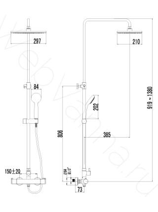 Душевая стойка Lemark Yeti LM7860C, хром, термостат